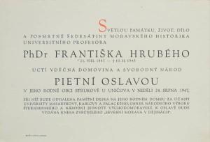 pozvánka na pietní oslavu v roce 1947