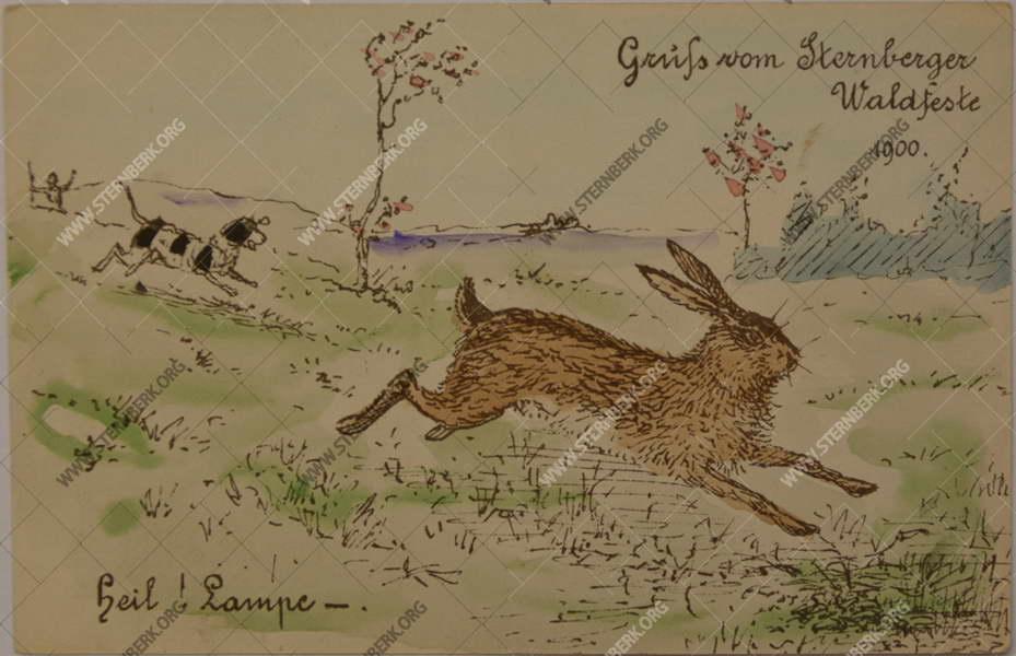 Masopustní pohlednice z roku 1898